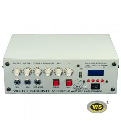 West Sound TKS200M USB Araç Üstü Ses Sistemi Amfisi